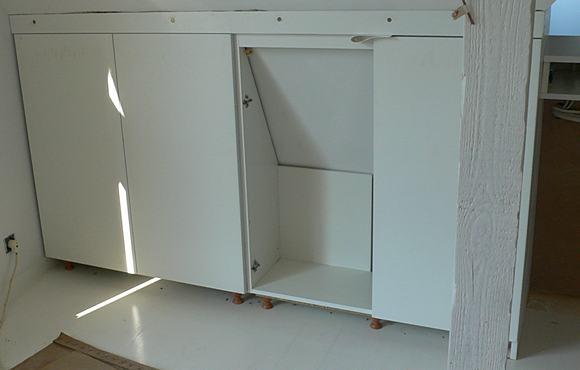Widok na wstawione szafki